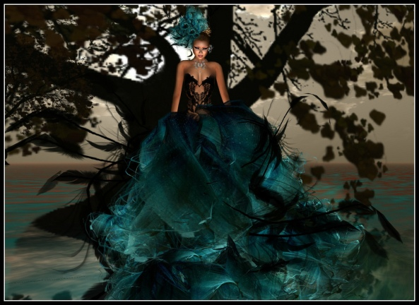 FLOWERDREAMS CARMEN in AQUA GOWN /model  xia firethorn