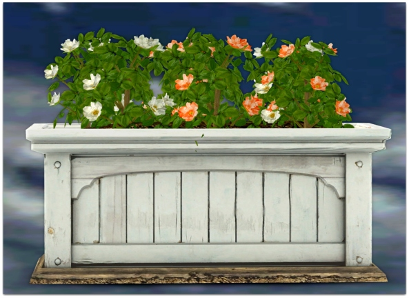 PLANTER-~ xantes ~ Mesh Roses Wood Planter White Orange_001