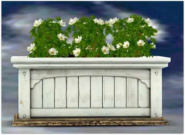 PLANTER-~ xantes ~ Mesh Roses Wood Planter - White_001
