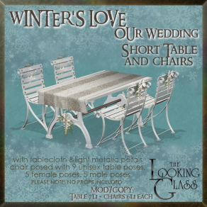tlg - winter's love wedding short table & chairs